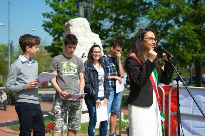 Irene Priolo durante le celebrazioni del 25 Aprile