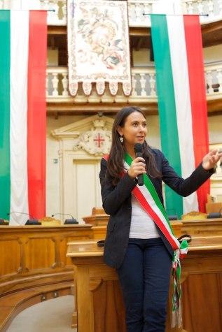 Irene Priolo nella Sala del Tricolore a Reggio Emilia