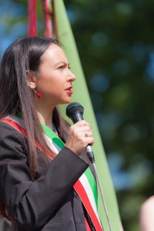 Irene Priolo durante le celebrazioni del 25 Aprile 2014