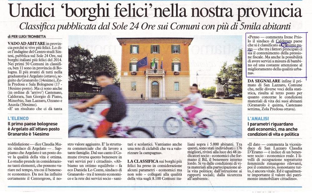 Borghi Felici - Il Reso del Carlino 19 AGosto 2014